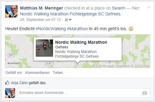 Den Status bei Facebook anlässlich des Nordic-Walking-Marathons Gefrees 2014 teilen.