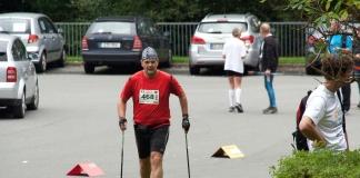 Zieleinlauf: Matthias M. Meringer beim 11. Fichtelgebirgs-Nordic-Walking-Marathon 2014
