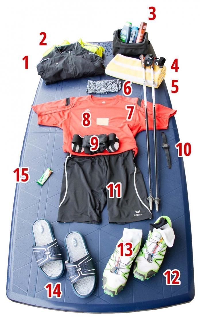 Gepäck für den Marathon im Nordic Walking 2014 in Gefrees