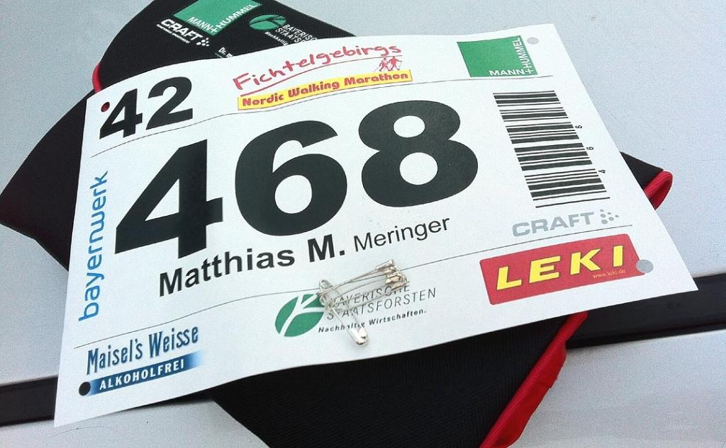 Startnummer 468 beim 11. Fichtelgebirgs-Nordic-Walking-Marathon 2014 in Gefrees