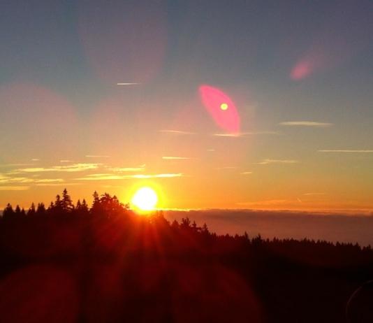 Nordic-Walking-Helden beim Sonnenaufgang auf dem Waldstein 2014