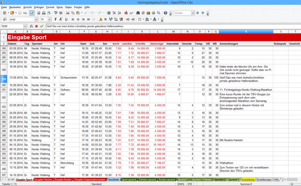 Trainingstagebuch mit der Tabellenkalkulation