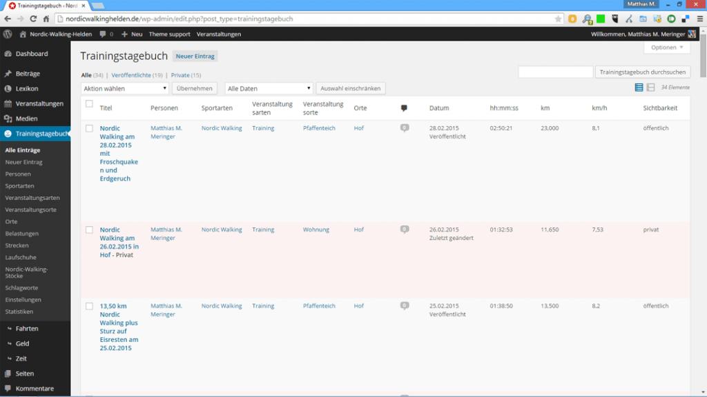 Trainingstagebuch für WordPress: alle Einträge in der Übersicht