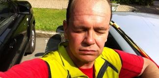 Matthias M. Meringer nach dem Nordic-Walking-Halbmarathon in Bad Steben 2015