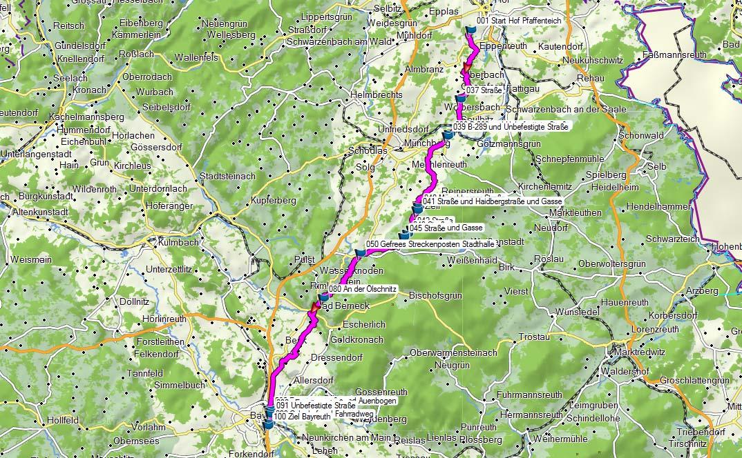 Nordic-Walking-Ultramarathon Hof-Bayreuth 2016 – Karte